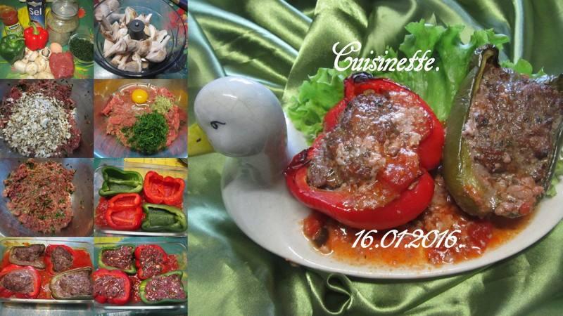 Poivrons farcis bœuf/champignons. 12509210