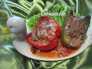 Poivrons farcis bœuf/champignons. 38424710