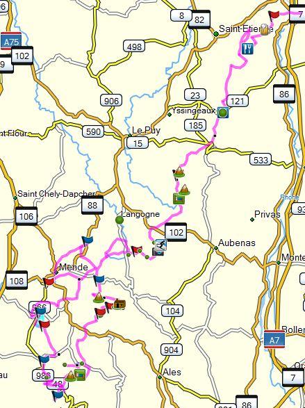 Vers la Lozère et les Cevennes 16-17-18 Map_lo10