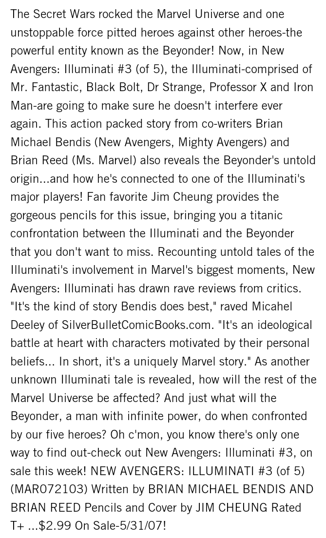 Brian Michael Bendis states Beyonder (Cosmic Cube) wields Infinite Power Screen10
