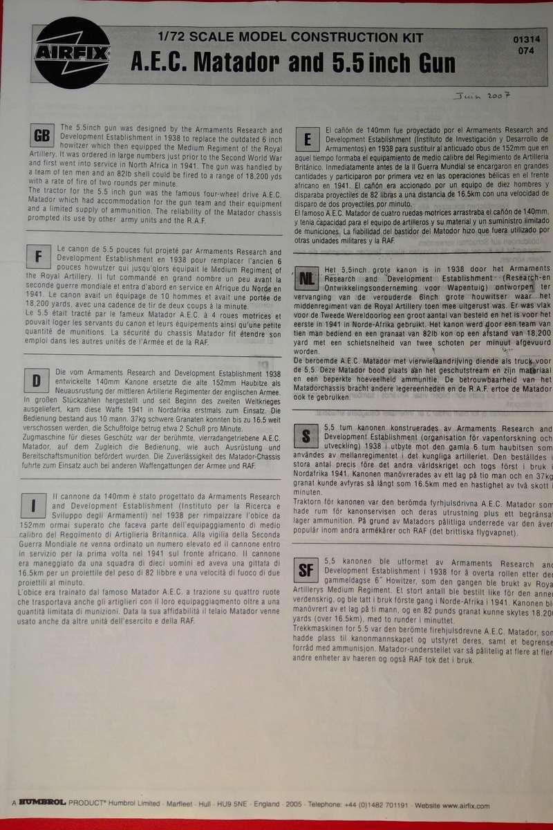 [AIRFIX] Camion A.E.C. MATADOR & CANON DE 5,5 pouces 1/76ème Réf 01314 Notice Airfi143