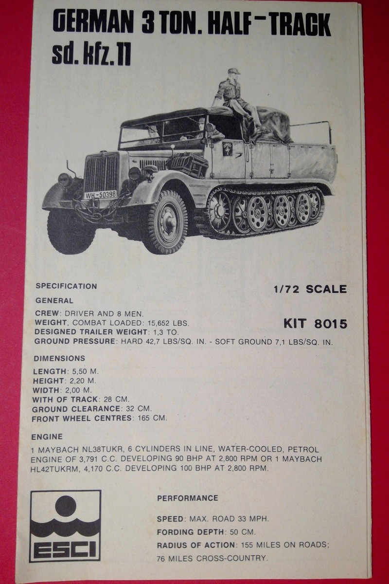 [ESCI] Semi chenillé 3 tonnes Sd Kfz 11 1/72ème  Réf 8015 Notice Esci_s12