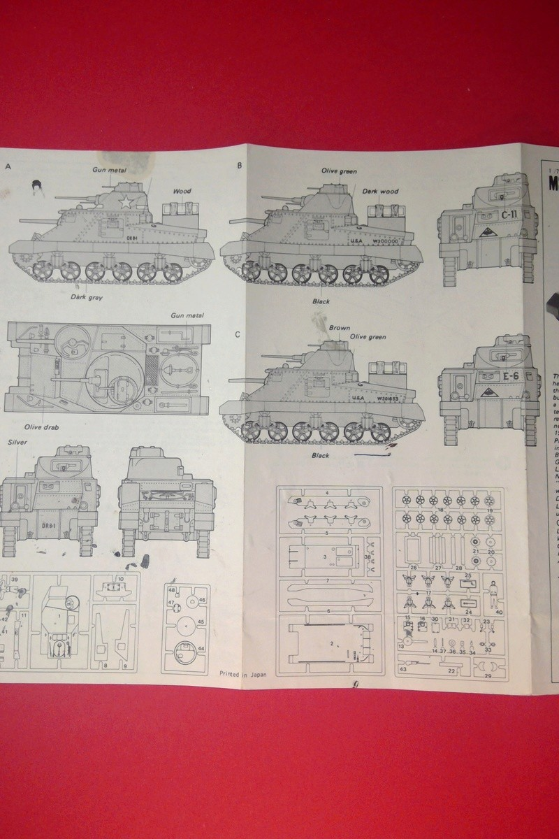 [HASEGAWA] Char M3 LEE 1/72ème Réf MB 4 Notice Hasega56