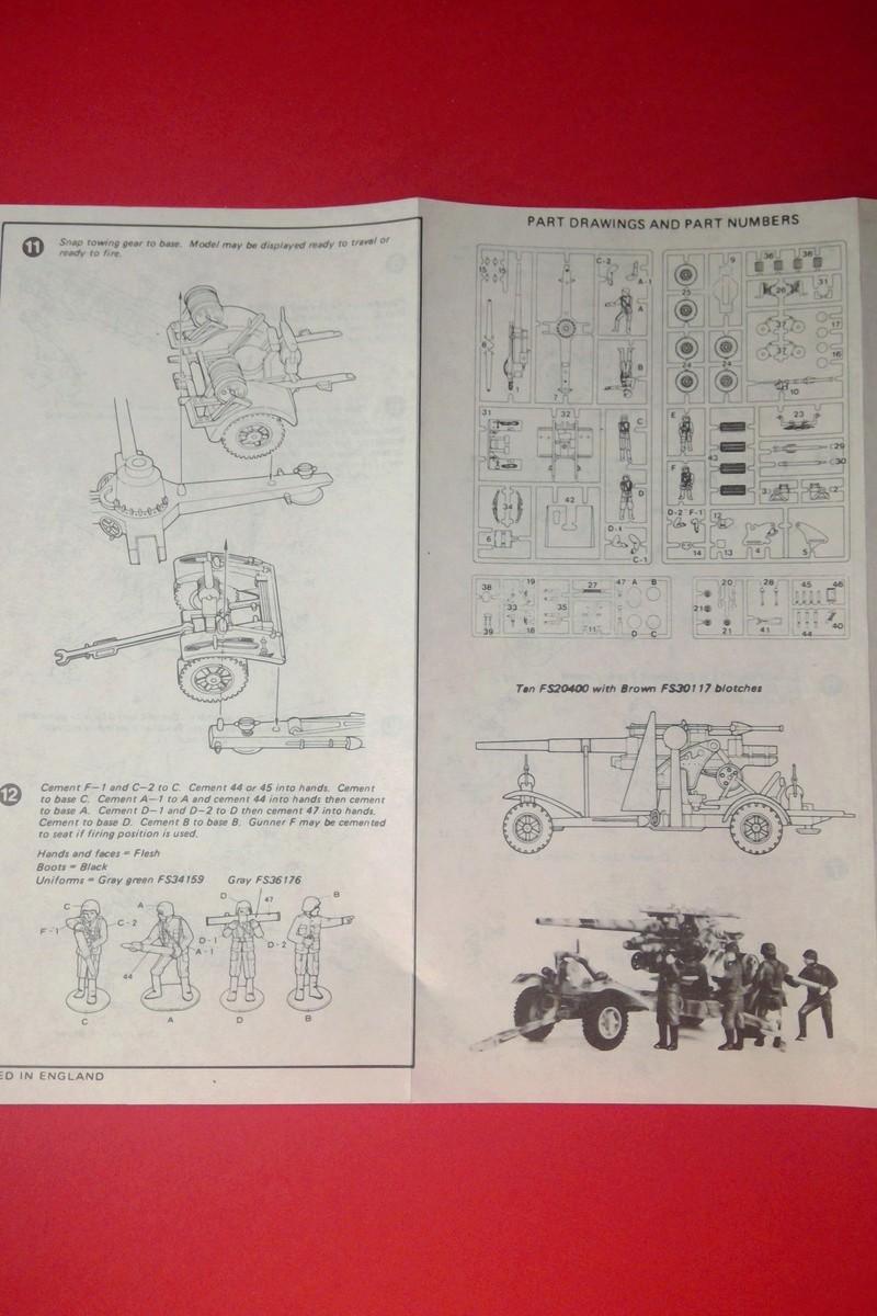 [HASEGAWA] Canon antiaérien de 88mm Flak 18 1/72ème Réf MB 10 Notice Hasega59