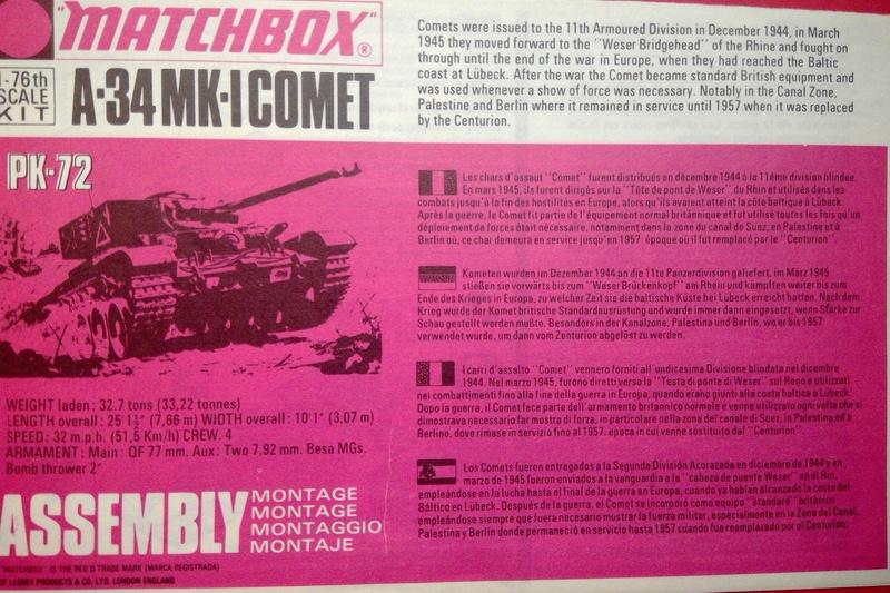 [MATCHBOX] Char A 34 Mk 1 COMET 1/76ème Réf PK  72 Notice Match103