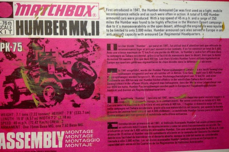 [MATCHBOX] Automitrailleuse blindée HUMBER Mk II 1/76ème Réf PK 75  Notice Match115