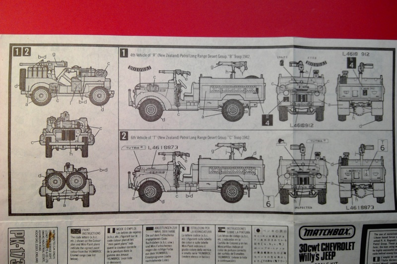 [MATCHBOX]  Camion CHEVROLET & WILLYS OVERLAND JEEP Long Range Desert Group 1/76ème Réf PK 173 Notice Match120