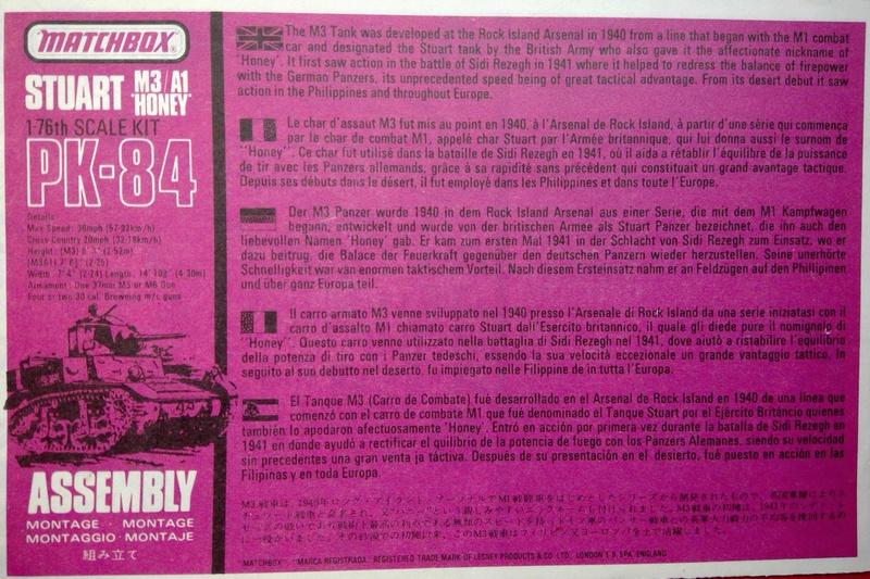 [MATCHBOX] Char M3 STUART HONEY 1/76ème Réf PK 84 Notice Match127