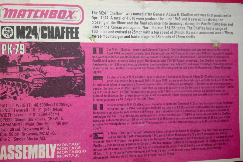 [MATCHBOX] Char M24 CHAFFEE 1/76ème  Réf PK 79 Notice Match141
