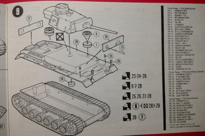 [MATCHBOX] Char PANZER III Ausf L 1/76ème PK 74 Notice Match145