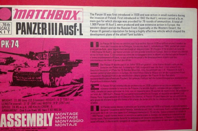 [MATCHBOX] Char PANZER III Ausf L 1/76ème PK 74 Notice Match146