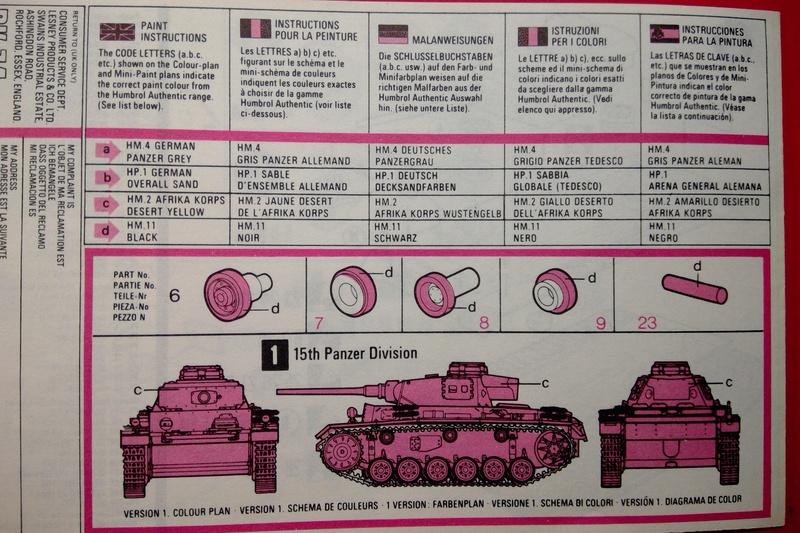 [MATCHBOX] Char PANZER III Ausf L 1/76ème PK 74 Notice Match148
