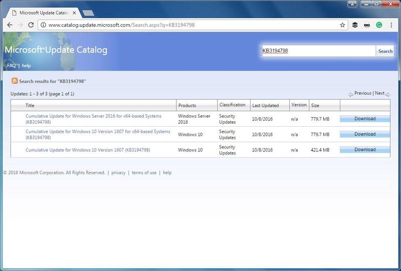Η Microsoft επιτρέπει πλέον την πρόσβαση στην υπηρεσία Update Catalog από τους περιηγητές Google Chrome και Firefox Micros11