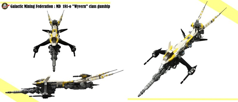 "shiptember - [MOC] SHIPtember: Galactic Mining Federation MD 181-o ""WYVERN"" class gunship. Galact10"