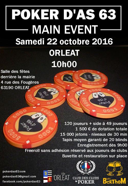 Main Event de Poker d'As 63 samedi 22 octobre 2016 Orléat Affich16