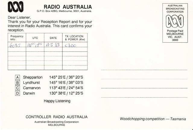QSL's de Radio Australie Austra10