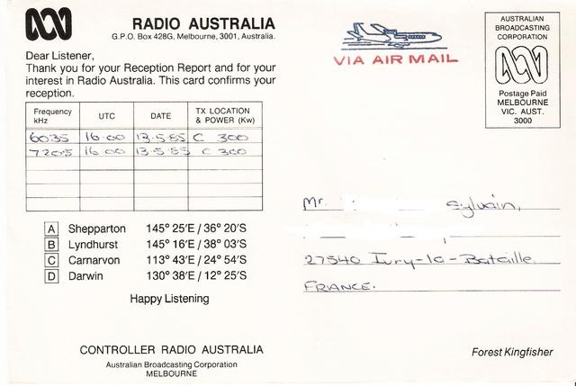 QSL's de Radio Australie Austra12