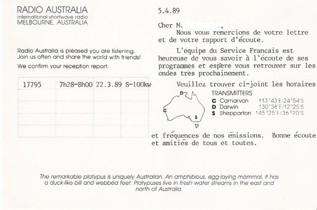 QSL's de Radio Australie Austra16
