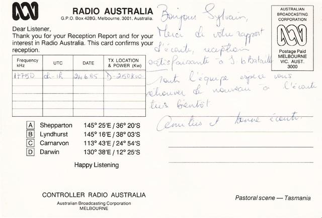 QSL's de Radio Australie Austra18