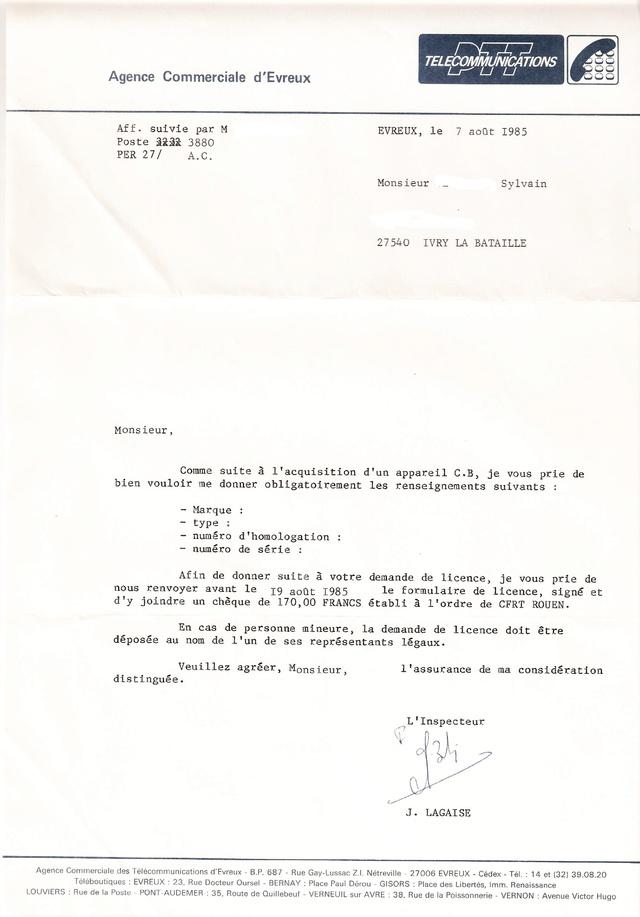 Demande de licence CB (1985) Licenc10