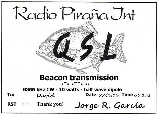 eQSL Radio Pirana BEACON 22-10-11
