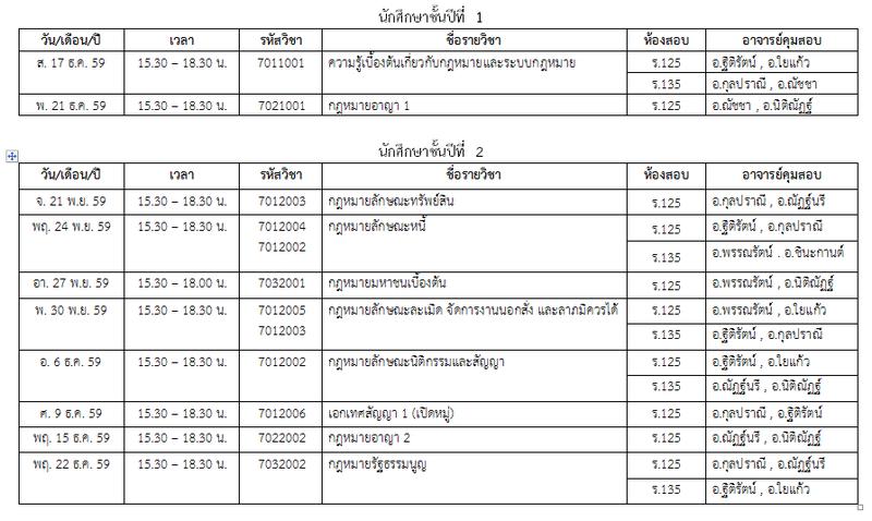ประกาศตารางสอบปลายภาค ภาคการศึกษาที่ 1/2559  ภาคปกติ และภาคพิเศษ (แก้ไขฉบับที่ 1) Aoaaaa10