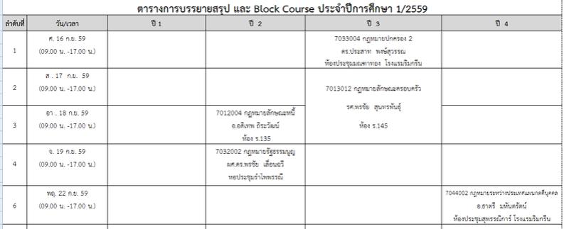 ประกาศตารางการบรรยายสรุป และ Block Course ประจำปีการศึกษา 1/2559 แก้ไขฉบับที่ 2 Block_12