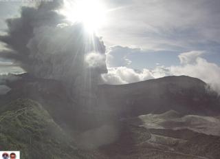 Volcano erupts sending rocks and ash 4km high. Vs11