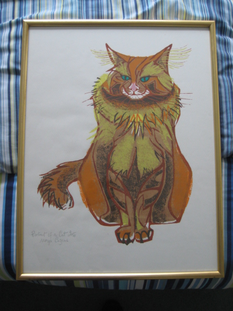 MOYA COZENS Portrait of a cat framed print numbered Img_5010