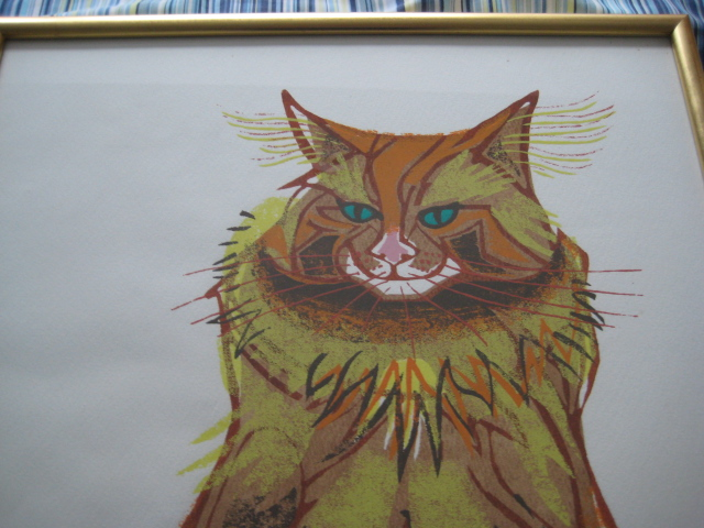 MOYA COZENS Portrait of a cat framed print numbered Img_5011