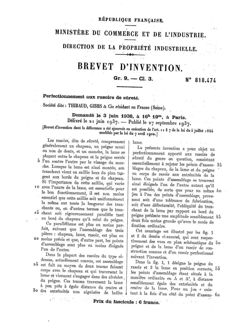 Première mise en vente du GIBBS réglable 110