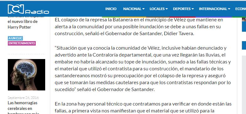 Colapso de represa en Vélez se produjo por fallas en construcción Captur16