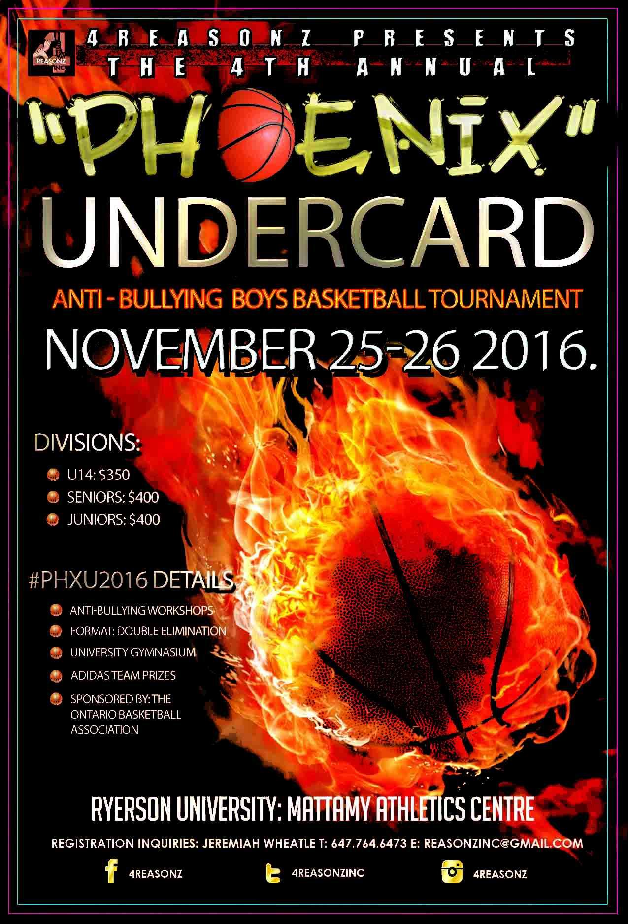 Phoenix Undercard Boys Tourney Ryerson University Nov 25-26. Phxu2012