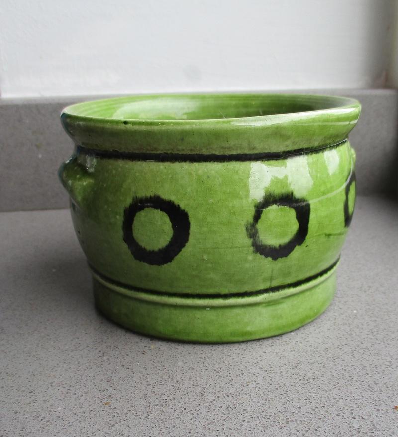 Old Slipware? Green Glaze Small Black Circles Img_0720