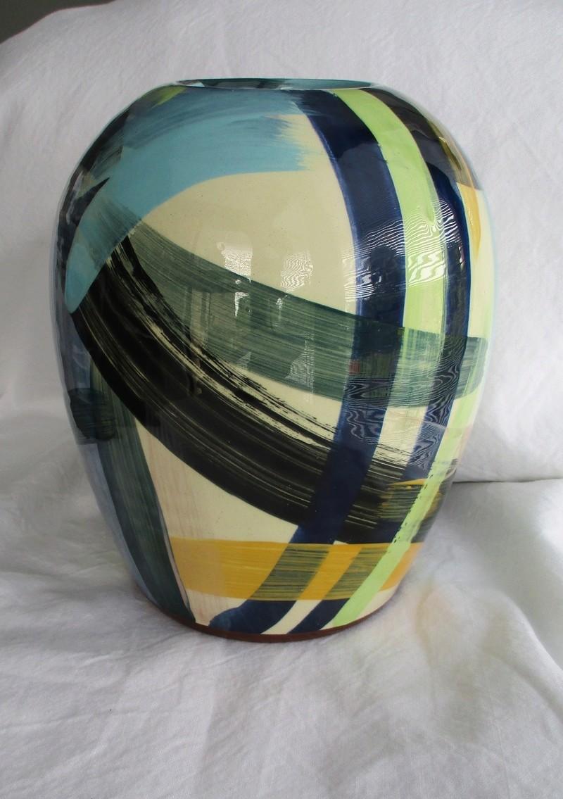 Large Ovoid Vase. Sweeping Colour Brush Decoration- ID Please Img_0723