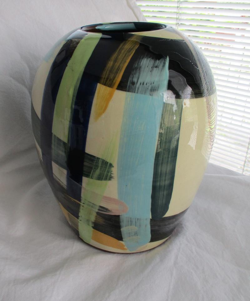 Large Ovoid Vase. Sweeping Colour Brush Decoration- ID Please Img_0724