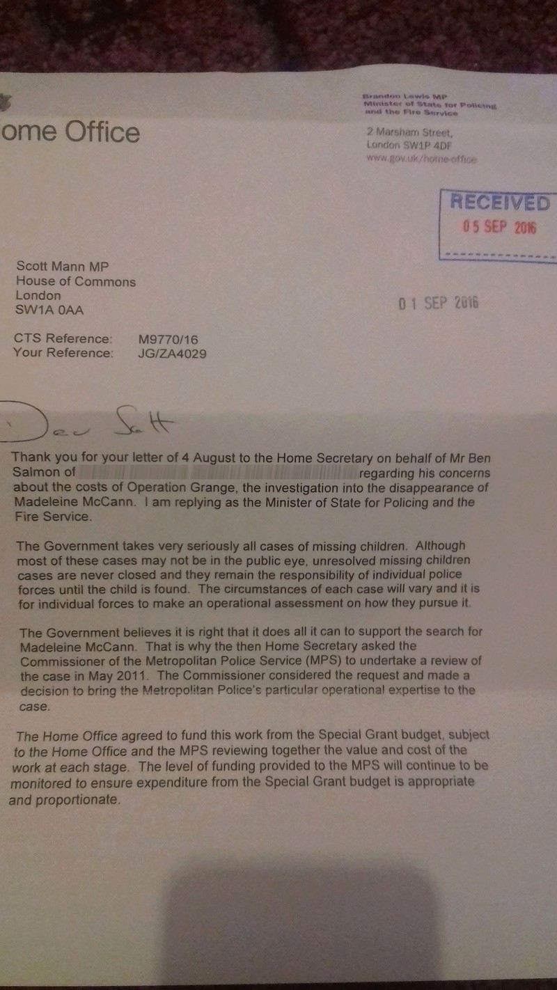 Letter sent today to the Prime Minister and Sir Bernard Hogan-Howe suggesting Met Police enquiry into Maddie McCann mystery is not genuine 110