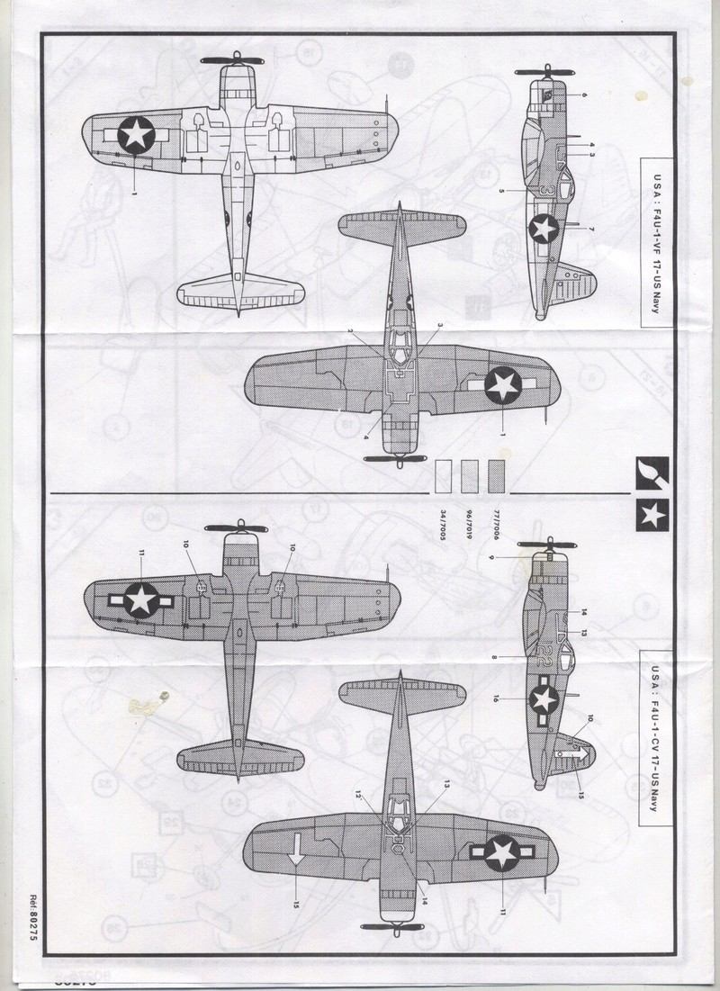 VOUGHT F4U 1 D CORSAIR 1/72ème Réf 80275 Notice  Chance19