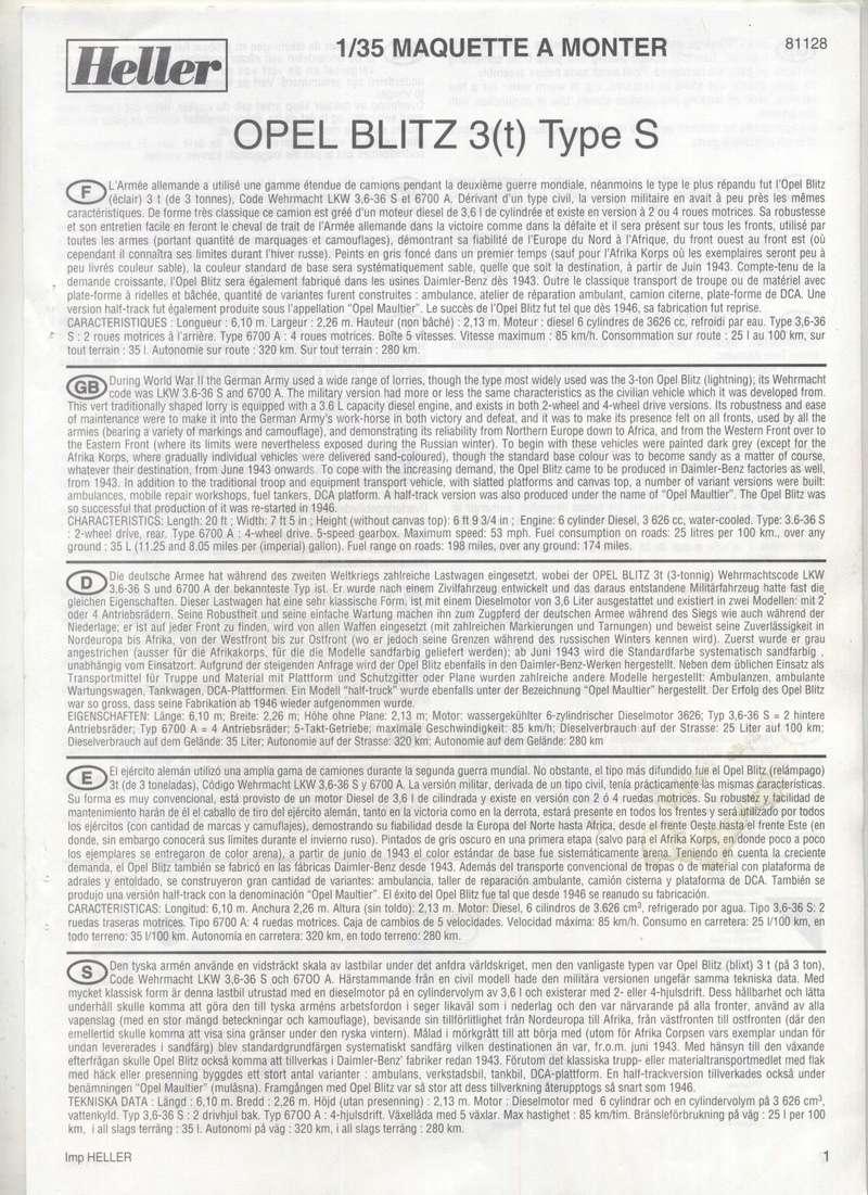 OPEL BLITZ 1/35 REF : 81128 - NOTICE  Maquet17