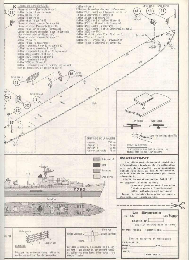 Escorteur rapide Type E 50 LE BRESTOIS 1/400ème Réf 547 Notice Maquet44