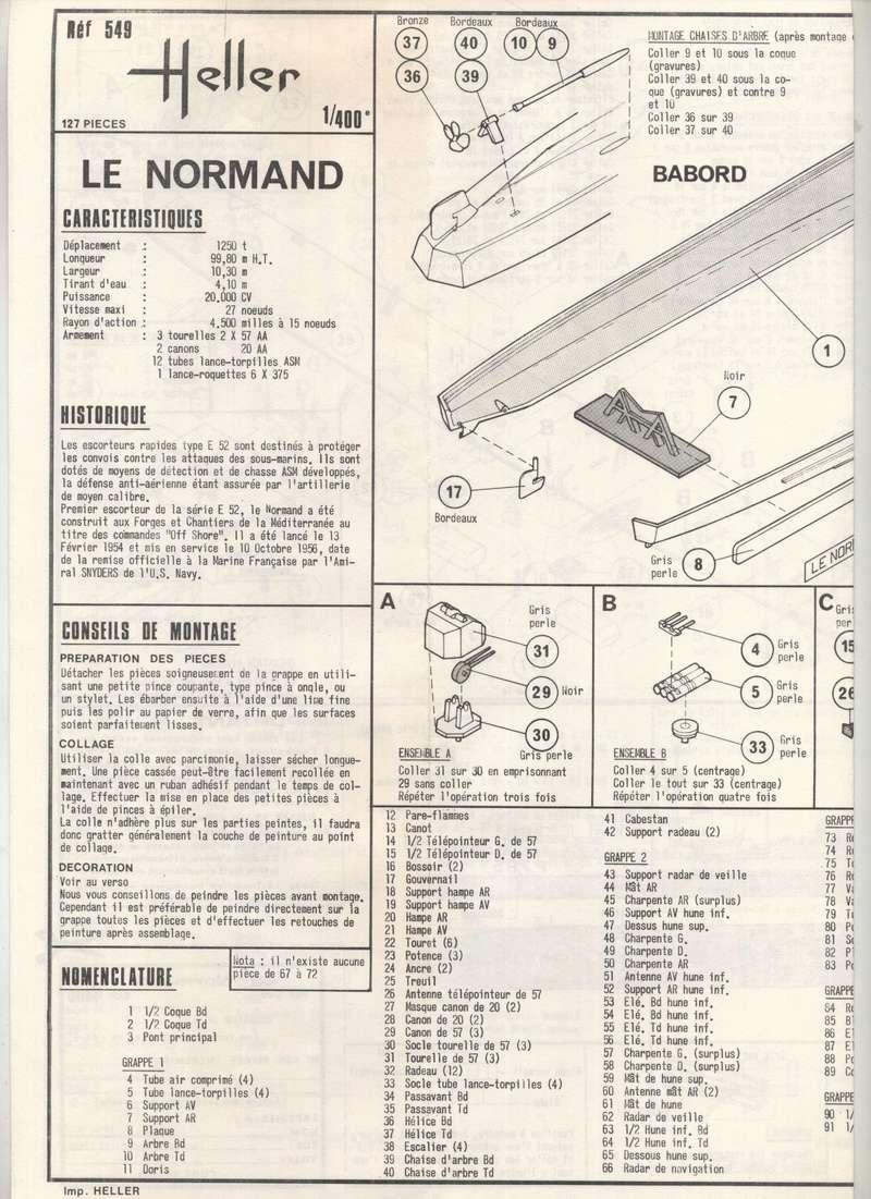 ESCORTEUR RAPIDE LE NORMAND - HELLER - 1/400 - REF : 549 - NOTICE Maquet56