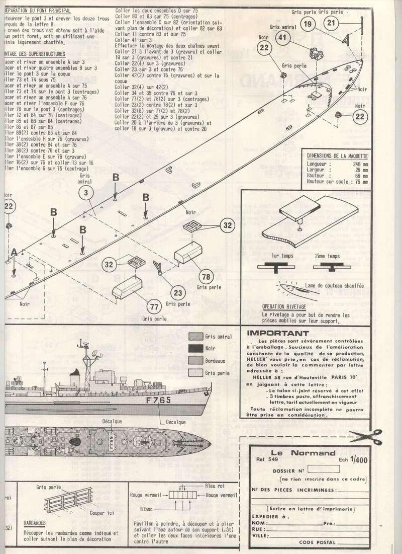ESCORTEUR RAPIDE LE NORMAND - HELLER - 1/400 - REF : 549 - NOTICE Maquet57