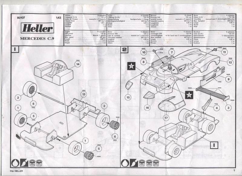 MERCEDES C9 - HELLER - 1/43 - REF : 80107 - NOTICE Maquet87