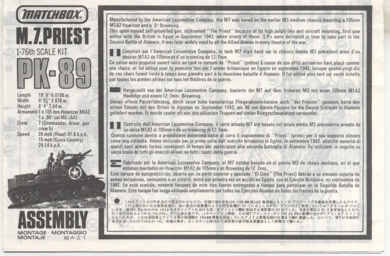 [MATCHBOX] M 7 PRIEST - 1/76 - REF : PK 89 - NOTICE Notic130