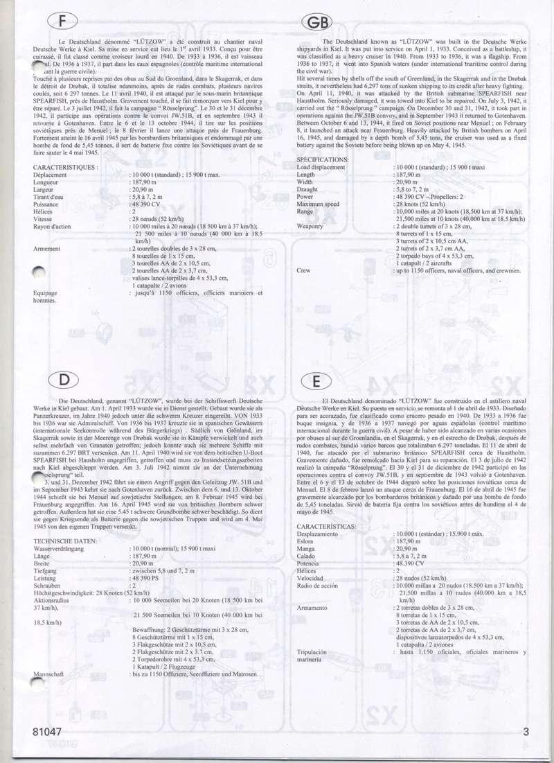 Croiseur lourd LUTZOW 1/400ème Réf 81047 Notice Notic167
