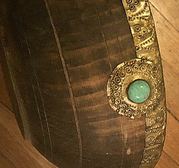 wooden brass banded turquoise bowl Wood_c17