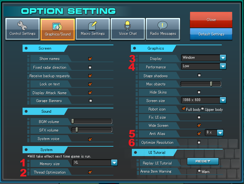 Best settings in option menu for better graphic performance? Screen32