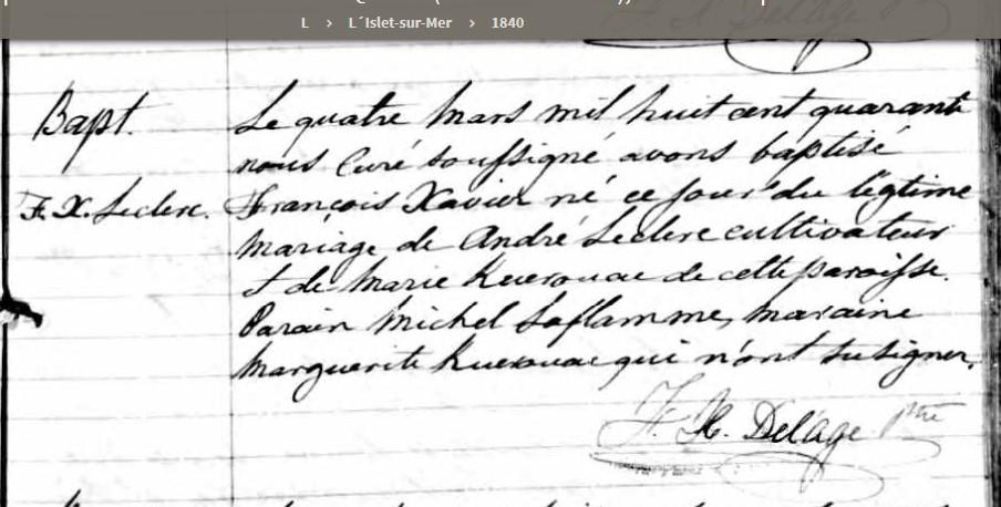 Mariage d'André lecerc et Marie Carbonneau vers 1830 Naissa11