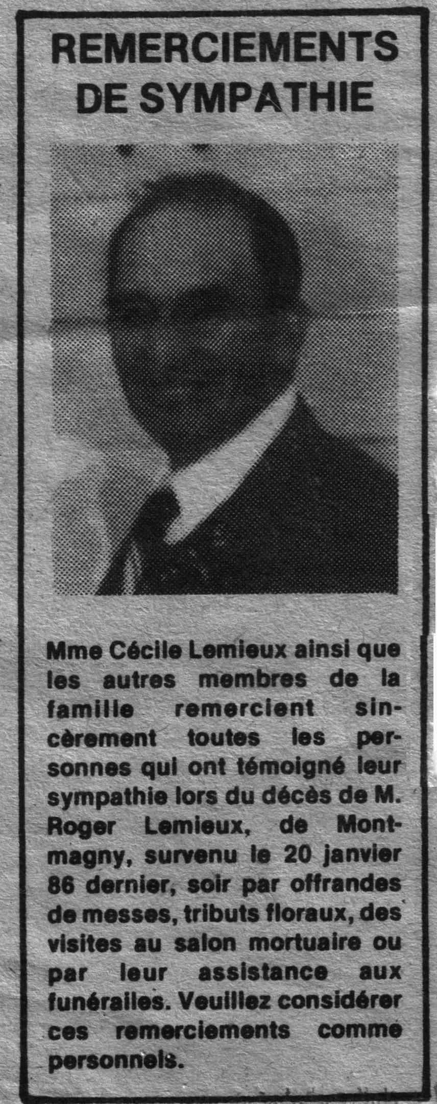 Lemieux, Roger, Remerciements de sympathies Remerc11