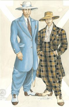 Zoot Suit: The fashion started by African American men and overtime grew popular with white and mexican men.  Once seen by many white and mexican parents as gangsta fashion B4bd9812